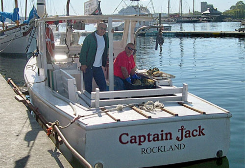 photo of captain jacks lobster boat in harbor camden maine