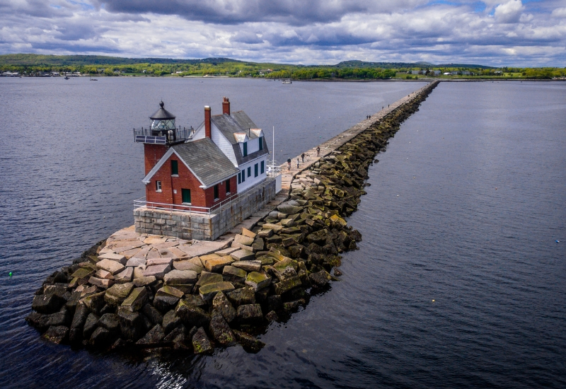 Rockland Breakwater Lighthouse Rockland Maine During Summer