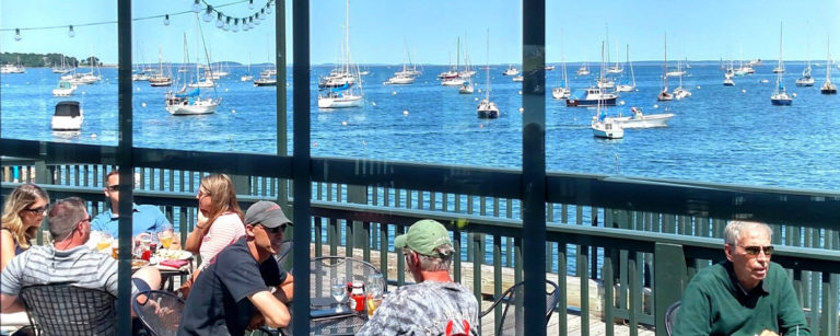 best rockland maine restaurants - archer's on the pier overlooking rockland harbor