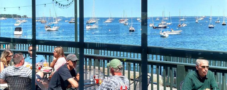 best rockland maine restaurants - archer's on the pier overlooking rockland harbor