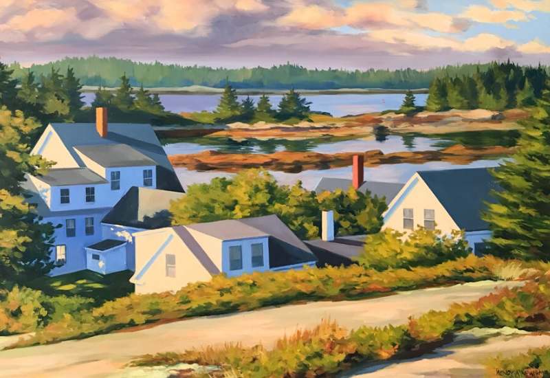 painting of houses on inlet of sea - Shopping Rockland Maine - Archipelago